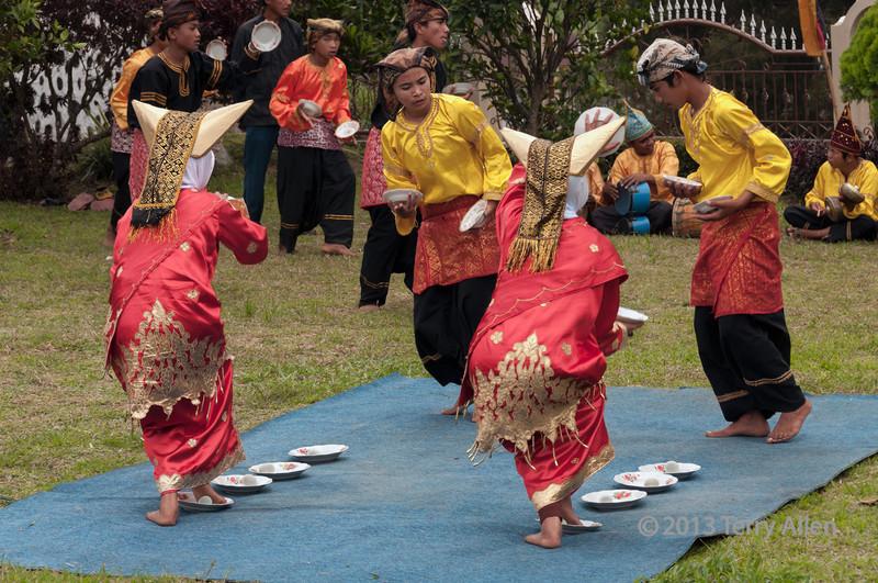 Minangkabau dancers performing egg dance, Cupek, West Sumatra