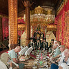 Guests at Minankabau wedding feast in big house (Rumah Gadang), Solok, West Sumatra