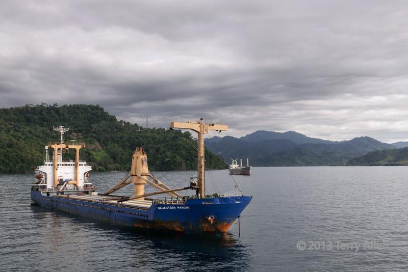 Freighters at anchor, Bayur Bay, Padang, West Sumatra