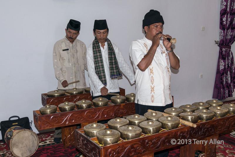Minangkabau musicians playing traditional brass instruments, Cupek, West Sumatra,