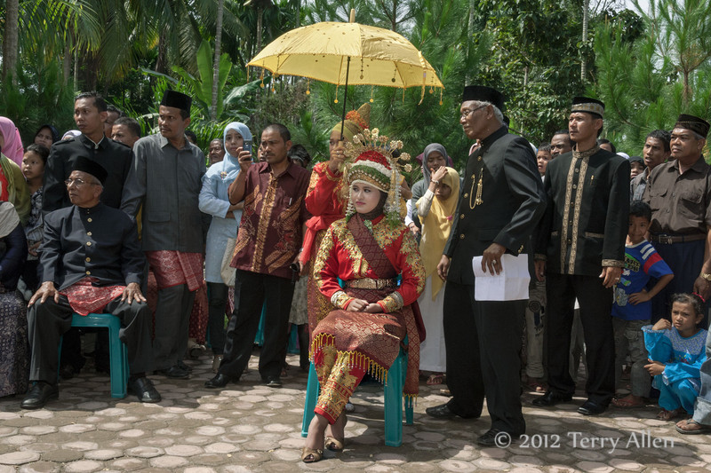 Bridal-party,-Acehnese-wedding,-Pirak-Timu,-Aceh-Province<br /> <br /> 3. The bride wore some fabulous local fabrics and an intricate floral and gold head-dress