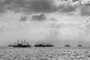 Several fishing platforms anchored in the Java sea, Ujung Kulon National Park, West Java (best at largest size)<br /> <br /> The big scale of the water and the sky with the off shore platforms, I thought could be best appreciated in B/W