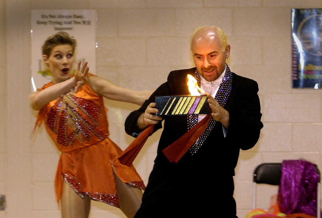 . Russian magicians,  Olga and Vladimir Smirnovs, perform for the kids at Axford Elementary School in Oxford. The Royal Hanneford Circus brought in a mini circus for about 300 students. The circus has performances at The Palace of Auburn Hills this week.