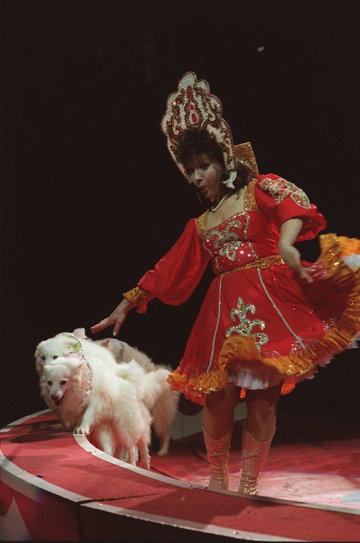 . Miss Violetta Ignatova, with some of her dogs performing at the Royal Hanneford Circus.