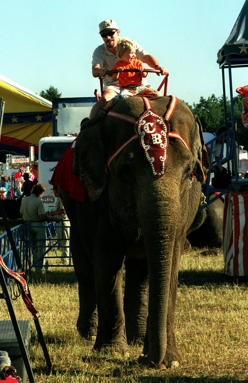 . Mark Tyler of Highland and his son Peter take ride on a elephant during the Carson Barnes 5-ring circus in Highland.