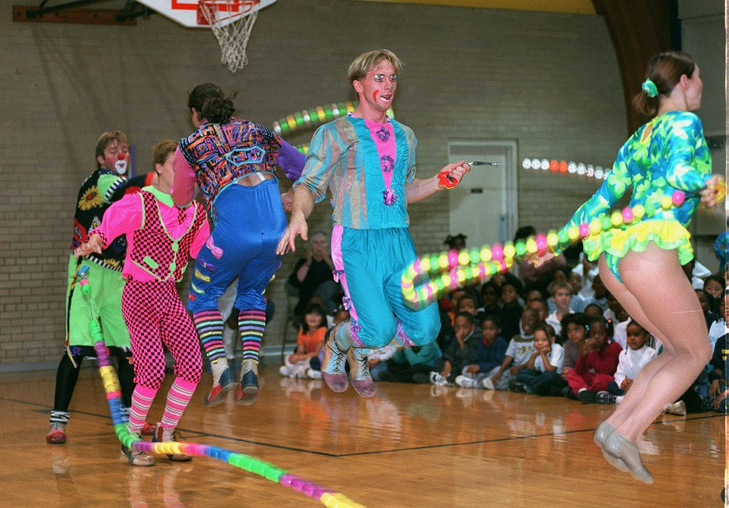 . Performers from the Moscow State Circus do jump rope tricks for the students at Mark Twain Elementary School in Pontiac. The Circus is performing at The Palace of Auburn Hills this weekend.