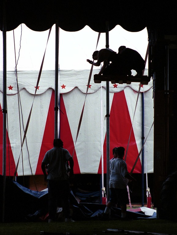 . Circus workers set-up the one-ring tent for Friday, June 23- Sunday July16 show for the Barnum\'s KaleidOscape Circus held outside the Southfield Civic Center.
