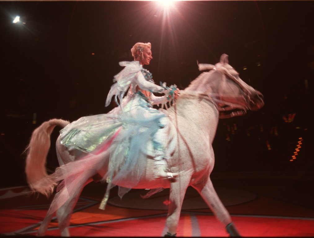 . Miss Sylvia Zerbini rides one of her horses during the performance of the \'Equestrian Elegance\' at the Royal Hanneford Circus.