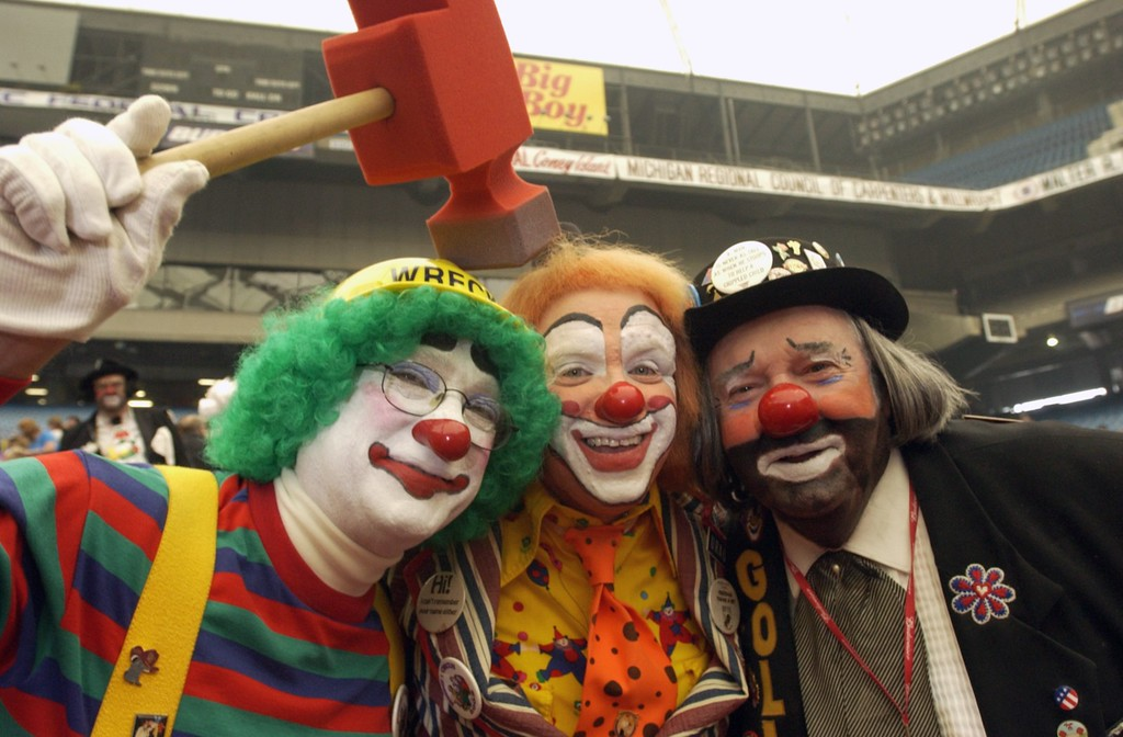 . Wrecker, AH-OH, and Gollly the clowns, three of many many clowns that kept the crowd in stiches laughing  at the Schrine Circus Xtream at the Pontiac Silverdome.