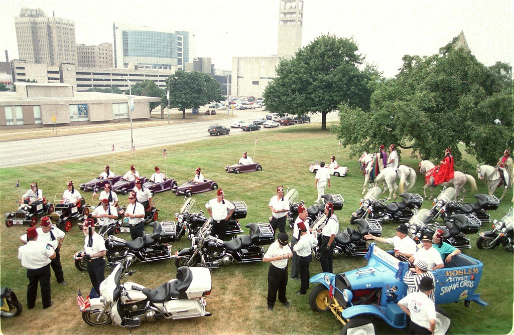 . The Shriners gather on the front lawn of Pontiac City Hall to celebrate the Shriners Circus coming to the Silverdome.