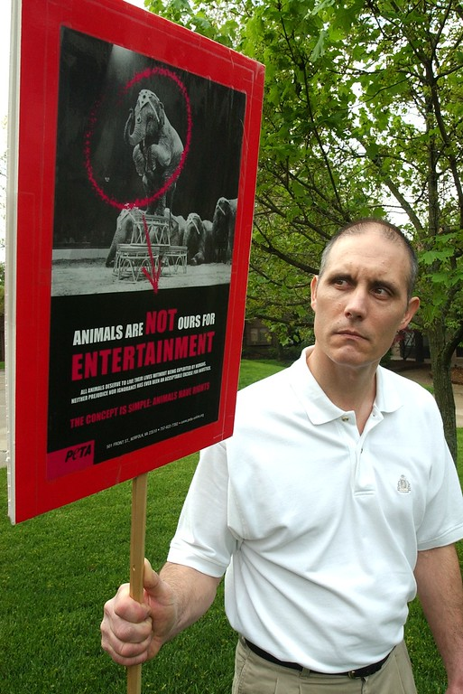 . Gary Wallazy, of Farmington Hills, is an activist for circus animal safety, who pickets at circuses to raise awareness.