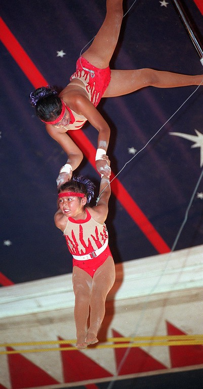. Performing aerial acts are Natalie Perez, bottom, and Priscilla Perez during the Kelly Miller Circus, held in Holly, Mich., Tuesday, August 7, 2001.