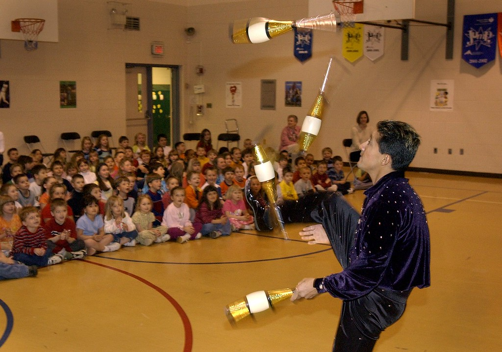. Benito juggles for the kids at Axford Elementary School in Oxford. The Royal Hanneford Circus brought in a mini circus for about 300 students. The circus has performances at The Palace of Auburn Hills this week.