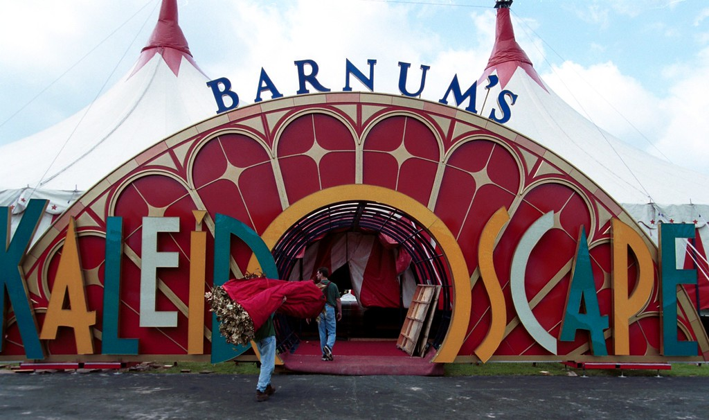 . Circus workers use the main entrance way as they work on setting up tent for Friday, June 23- Sunday July16 show for the Barnum\'s KaleidOscape Circus held outside the Southfield Civic Center.