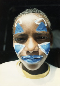 Abababaw Addisu in make-up in an early Circus Ethiopia Show