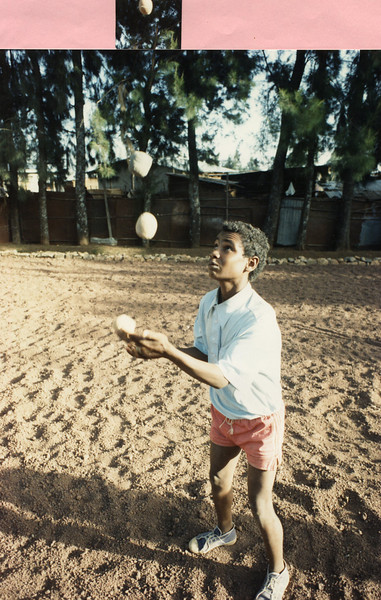 Workie Addisu Juggling in an early Circus Ethiopia Practice