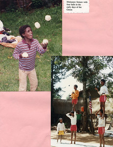 Muluseaw Semaw juggling four Balls in the early days of Circus Ethiopia (top)