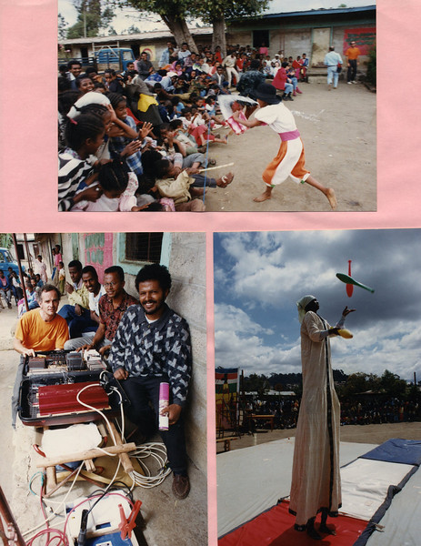 "Ayelekbat throws water on the audince as part of a skit (top), Fanta is on top as the ""big lady juggler"" (bottom right), Marc Lachance and Daniel with the first Circus sound system that Andrew Goldman built into a suitcase and donated to Circus Ethiopia"