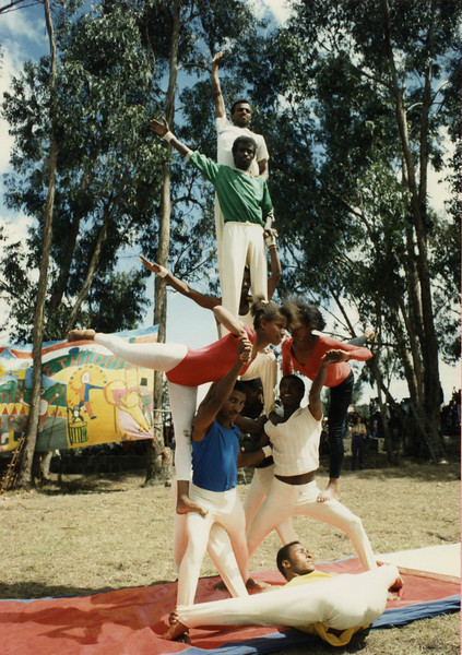 In the early days Circus Ethiopia Audiences were warmed up by performances by the Ethiopian Gymnastics Federation
