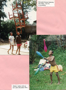 Betwaded Zemene balancing four chairs in and early circus Ethiopia practice (top) and Ababaw Addisu with our new clubs in December 1991 (bottom)