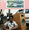 Awoke Semaw rests next to Circus Ethiopia's first sound system (home made speakers by Andrew Goldman).
