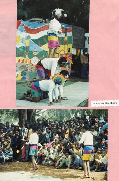 Pictures from one of the first Circus Ethiopia Performances, The Banner in the back of the top photograph was made by Students at the International Community School in Addis Ababa,