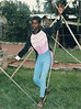 Lesan Takele on the Slack Rope durring Circus Ethiopia Practice in the NACOEJ Compound in Addis Ababa