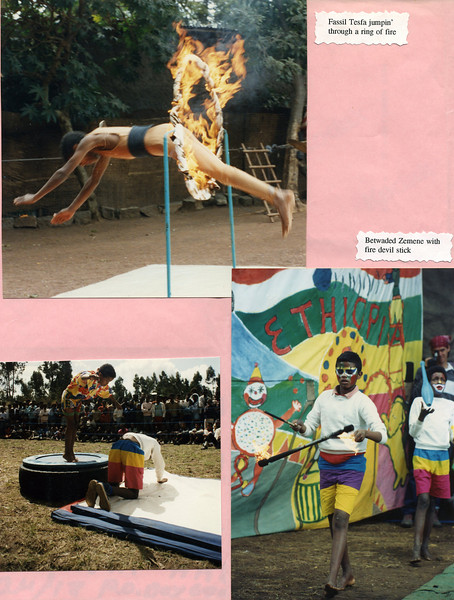 Fasil Tesfa jumping through a ring of fire (top) and Betwaded Zemene with fire devil stick in early Circus Ethiopia Show