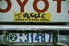 """Learn to Juggle while it is still legal"" bumper sticker on Andrew Goldman's truck (bottom) 1990"