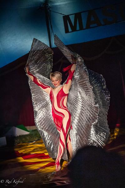 ...Og hokus-pokus starter forestillingens smukkeste nummer med den ukrainske mor og luftartist Tatyana