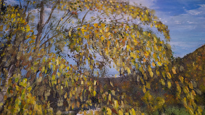 Sugarloaf Detail ..Happy Accident: Birch Tree leaf fragments accidently blown onto canvas while painting; and left on