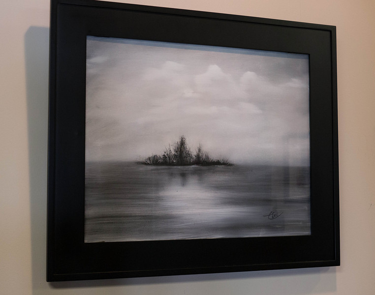 """Lake Isle ...20x16"""" Black and White Oil on canvas. (inspired by John Strazza photo)"""