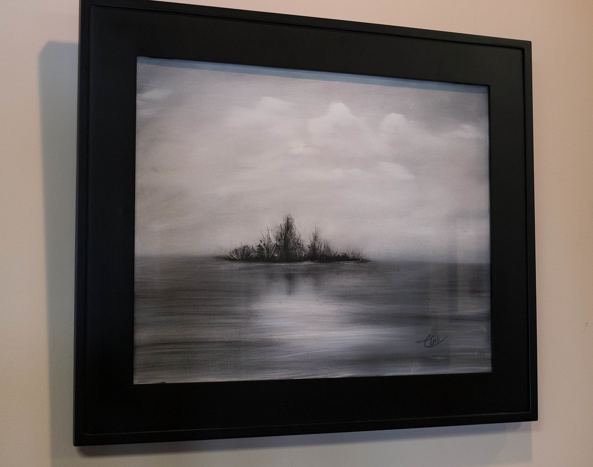 "Lake Isle ...20x16"" Black and White Oil on canvas. (inspired by John Strazza photo)"