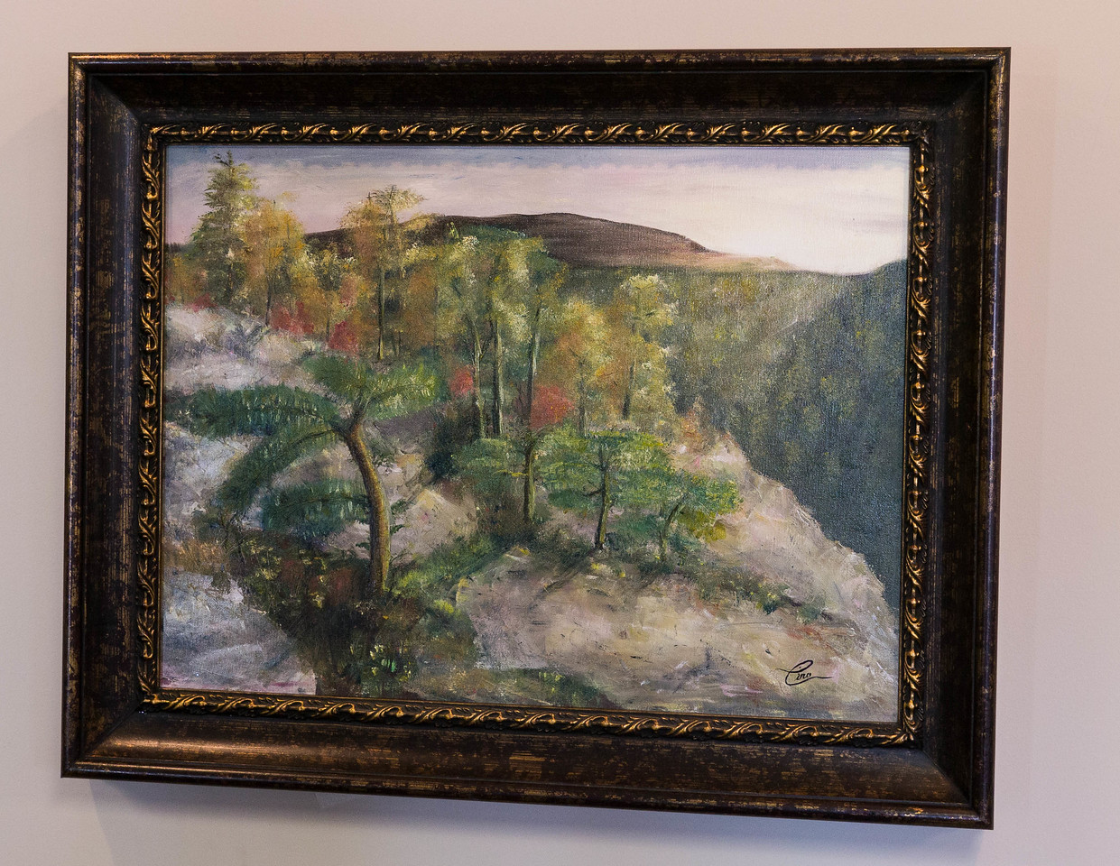 "Dwarf Pines (Schwanagunk Mountains) ...20x16"" oil on canvas used knife for most of this painting"