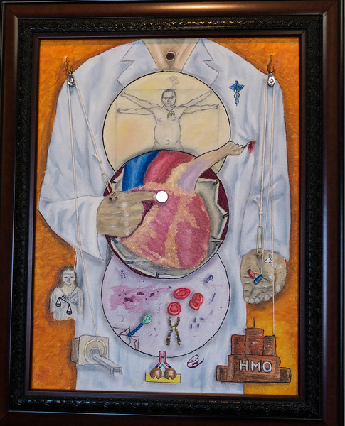 "Medicine Today ...18x24"" Oil on canvas ...In the upper sphere, DaVinci may represent our contemporary man as an overweight depressed smoker wearing his fast-food necklace.  The middle sphere represents cardiac advances in surgery and cardiac electronics. Hearts are fatty as one third of the population is obese. The lower sphere depicts molecular, microbial, and genetic knowledge expansion.  The provider is controlled by many factors that include judicial , technologic, and economic pressures and drug companies make drugs that create the illusion of happiness (reference to white rabbit). Paperclips represent medical beaurocracy (paperwork). Notice how the strings are attached.  The laryngectimized  medical provider has no voice in the politics of medicine and is very often hurt by the patients he is trying to help."
