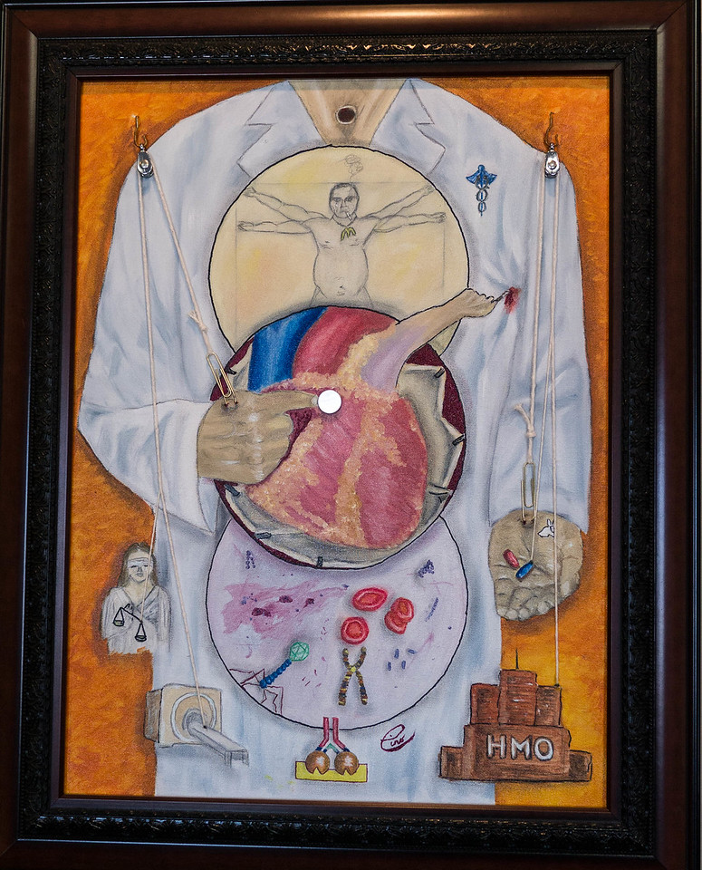 """Medicine Today ...18x24"""" Oil on canvas ...In the upper sphere, DaVinci may represent our contemporary man as an overweight depressed smoker wearing his fast-food necklace.  The middle sphere represents cardiac advances in surgery and cardiac electronics. Hearts are fatty as one third of the population is obese. The lower sphere depicts molecular, microbial, and genetic knowledge expansion.  The provider is controlled by many factors that include judicial , technologic, and economic pressures and drug companies make drugs that create the illusion of happiness (reference to white rabbit). Paperclips represent medical beaurocracy (paperwork). Notice how the strings are attached.  The laryngectimized  medical provider has no voice in the politics of medicine and is very often hurt by the patients he is trying to help."""