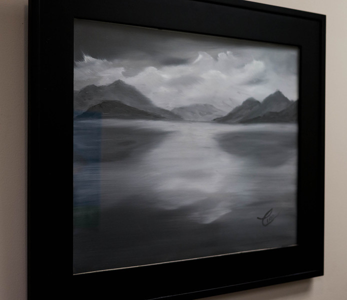 "Mountain Lake ...20x16"" Black and White Oil on canvas"
