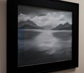 """Mountain Lake ...20x16"""" Black and White Oil on canvas"""