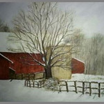 "Sugarloaf Farm in Winter ...16x20"" Acrylic on canvas"