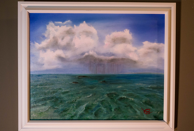"""Tropical Ocean with Rain Cloud ...Oil on Canvas 16x20"""""""