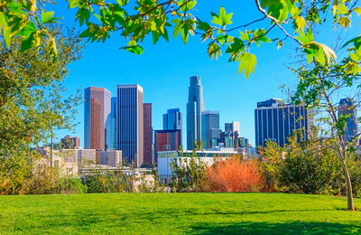 Spring day with of Los Angeles skyline and skyscrapers, California