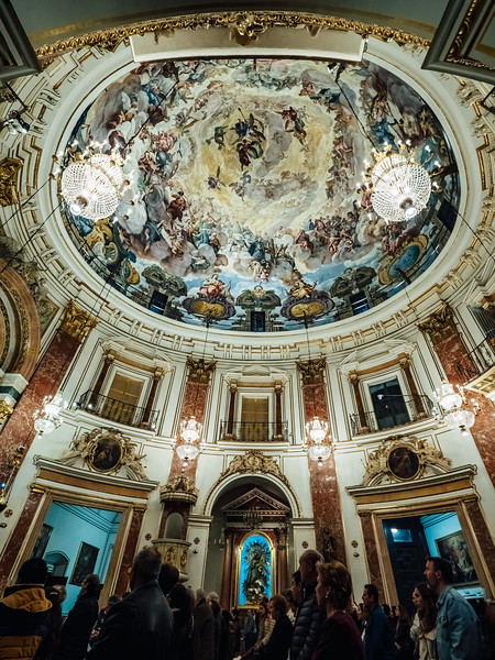 Christmas in Valencia - the stunning dome of the Basilica Virgen de los Desamparados featuring the frescoes of Palomino.