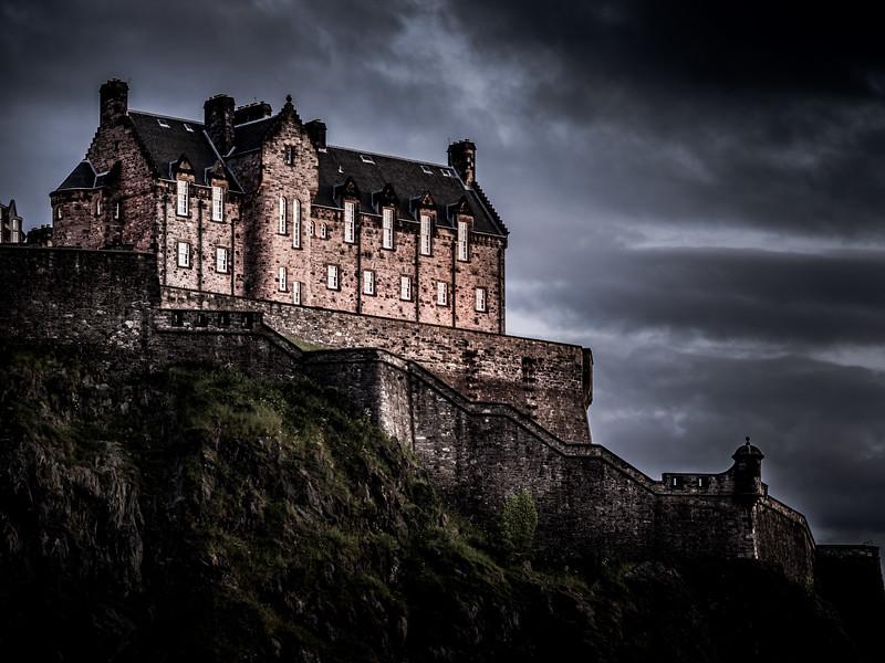 Edinburgh Castle on a stormy evening