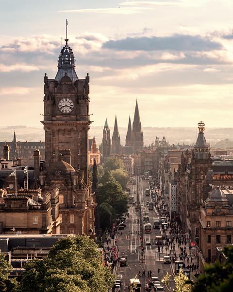 The view down Princes Street, Edinburgh.