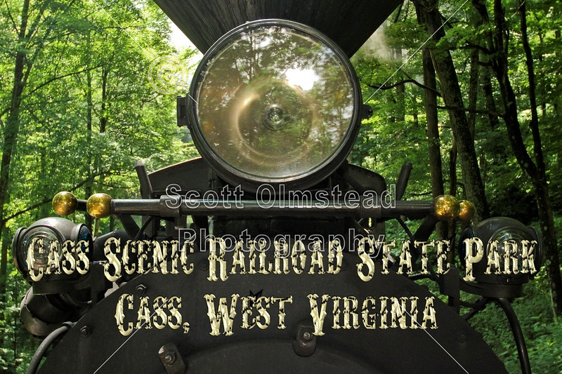 The Cass Scenic Railroad State Park is located in Cass, West Virginia.  The Cass Scenic Railroad is the same line built in 1901 to haul lumber.  This particular steam-driven locomotive was built in 1923 - July 23, 2013