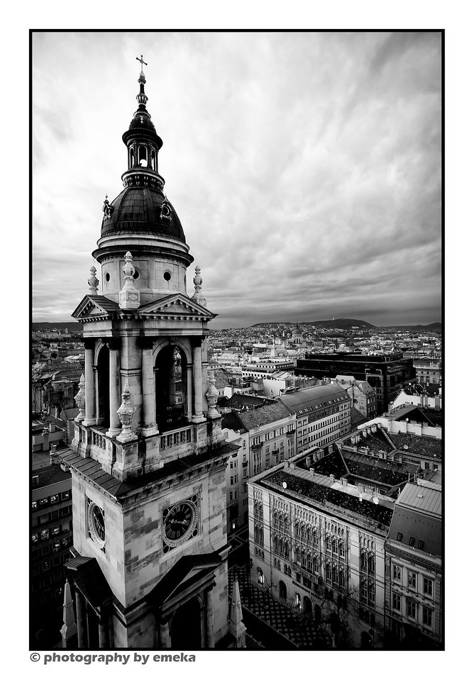 Spire at St. Stephen's Basilica...overlooking the city