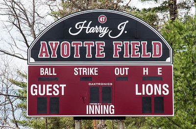 The scoreboard at Ayotte Field