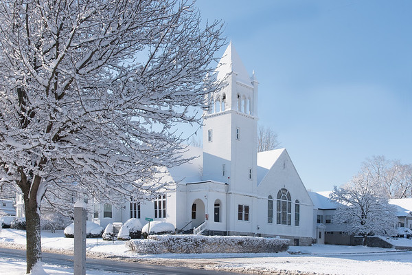 North Chelmsford Congregational Church in Winter