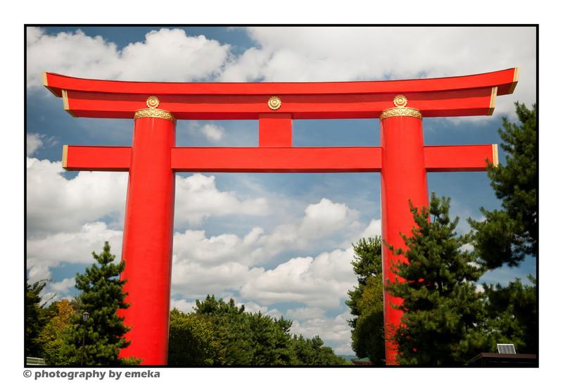 The Heianjingu Torii (gate), marking the entrance to Heianjingu Temple.