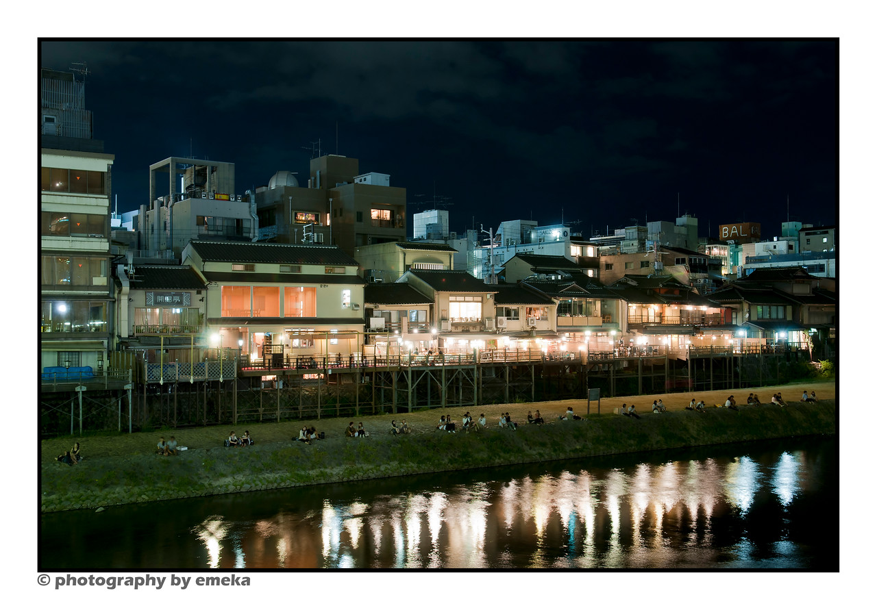 Night-time look at the restaurants along Kamo River.